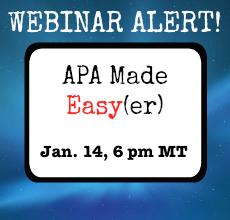 APA Webinar alert